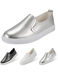 QIMAOO Zapatos Sin Cordones Para Mujer Zapatos de Cuero Zapatos Slip On Zapatillas Planos Casuales Calzado Deportivo Zapatillas Estudiante