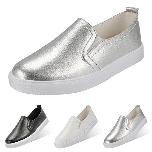 QIMAOO Chaussures de Loisirs en Cuir sans Lacets Pour Femme, Eté Chaussures Plates à Enfiler