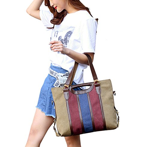 Pb-soar Signore Vintage Canvas Shopper Tracolla Borsa Messenger Manico Borsa Versatile Borsa (grigio) Kaki