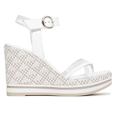 Nero giardini donna sandali bianchi con zeppa p805901d scarpe primavera estate 2018, 38 eu