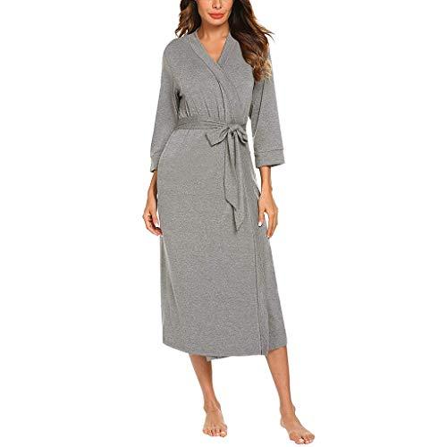 WooCo Sommer Sale Damen Bademantel Nachtwäsche Long Robe - 4/3 Ärmel V-Ausschnitt Leichtes Nachthemd mit Gürtel Robe Bademantel(Grau,XL) (Kegel ärmel)