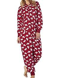 Slenderella Damen Luxus Soft 150GSM Leichtes Mikro-Vlies ReißVerschluss Onesie Jumpsuit Pyjamas Kleine Mittlere groß X-Groß