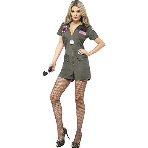 Smiffys Top Gun Damen Kostüm Pilotin Playsuit Karneval Fasching Gr.M