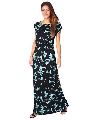 5081-TRQ-12: Bodenlanges Jersey Sommerkleid (Türkis, Gr.40 /  Herstellergröße - Für Sommer Kleid Lang Den