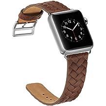 Correa Apple Watch 42mm,X-cool Marrón Cuero de Calidad superior Reemplazo Banda para Apple Watch