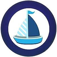 Möbelknopf Möbelgriff Möbelknauf Jungen hellblau dunkelblau blau Massivholz Buche - Kinder Kinderzimmer Segelboot Boot Schiff blau dunkelblau weiß gestreift maritim -
