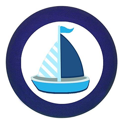 Türknauf Möbelknopf Möbelgriff Möbelknauf Jungen hellblau dunkelblau blau Massivholz Buche - Kinder Kinderzimmer Segelboot Boot Schiff blau dunkelblau weiß gestreift maritim - dunkelblau