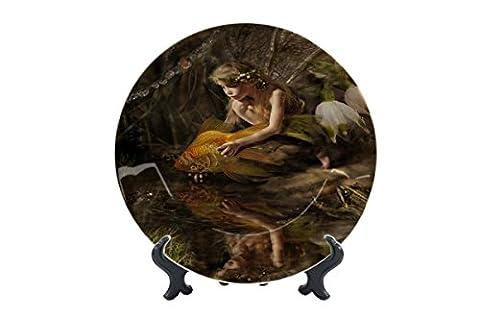 Teller Fantasie Bild Motiv Fee Goldfisch Keramik bedruckt