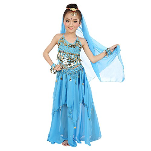 XFentech Squisita Bambini Elegante Danza del Ventre Costume Set Outfit Set di Cinque Pezzi, Blu chiaro/S