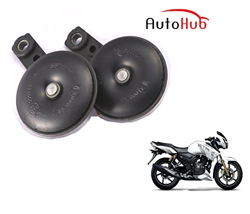 Auto Hub Uno Minda Bike Horn Set For TVS Apache RTR 180 - Set of Two (Black)  available at amazon for Rs.499