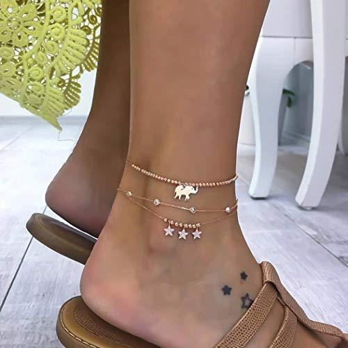 efant Fußkettchen Gold Fußkettchen mit Kristallfußschmuck für Frauen und Mädchen ()