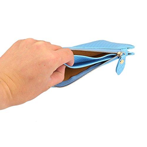 Wkae Universal Plaid Texture Horizontale Stil PU Leder Schulter Tragen Tasche & Lanyard für iPhone, Samsung, HTC, Sony, Lenovo, Huawei, Xiaomi und andere 6,4 Zoll unterhalb von Smartphones ( Color : B Blue