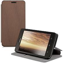 kwmobile Funda protectora completa práctica y chic carcasa con diseño FLIP COVER para una protección total de tu teléfono móvil Huawei Ascend Y635 case de color cobre