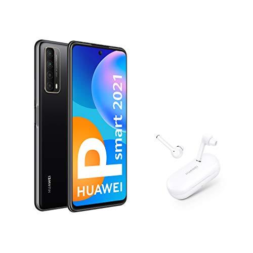 Oferta de HUAWEI P smart 2021 + FreeBuds 3i - Smartphone de 6,67 pulgadas Full HD, 4GB de RAM y 128 GB de ROM, 5000 mAh de batería, Cuádruple cámara 48 MP, negro [Versión ES/PT]