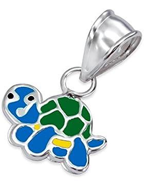 Anhänger Kinder aus Sterling-Silber 925/000rhodiniert und Epoxidharz–Schildkröte–grün blau gelb