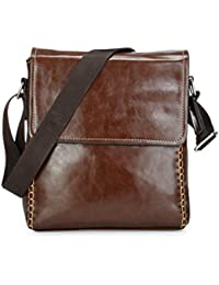 Latest PU Leather Brown Sling Bag For Men & Women & Girls By Bagris GE01001229