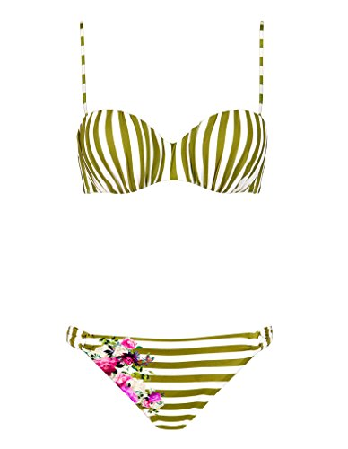 Maryan Mehlhorn 5911-600 Women's Riviera White Olive and Multicoloured Stripy Floral Swimwear Bikini Set 38 - C Cup (Floral White Bikini)