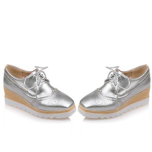 AgooLar Damen Mittler Absatz Weiches Material Rein Schnüren Quadratisch Zehe Pumps Schuhe Silber