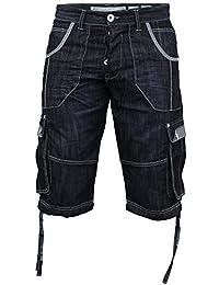 Hommes Crosshatch Wing 16 Revers Jeans Short Longueur Genou - Homme, Délavage foncé, Tour de taille 91 cm