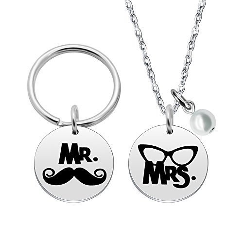 Regali di san valentino coppie collana portachiavi set–mr. mrs.-per donne uomini acciaio inox, confezione da 2