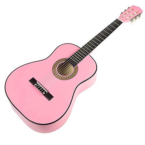 XHHWZB Guitarra clásica principiante Cuerdas de nylon de 36 pulgadas Paquete con bolsa y accesorios, rosa