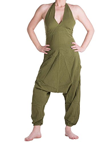 Vishes – Alternative Bekleidung – Haremshose, Latzhose, Neckholder aus Baumwolle olive 34