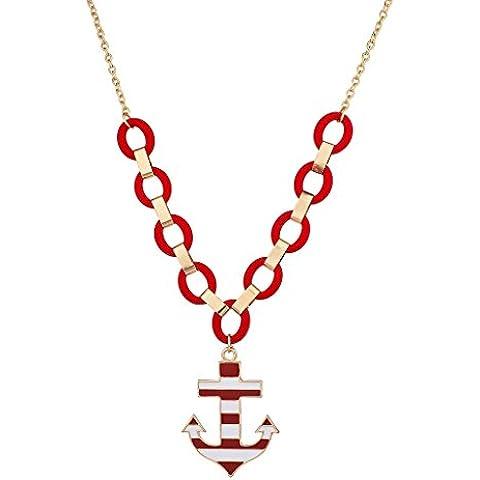 Lux accessori, colore: rosso e bianco grande–Collana