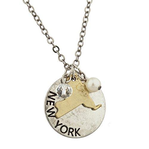 Halskette mit Anhänger mit Umriss des US-Bundesstaates New York in poliertem Silber von Lux Accessories (Vintage-shirts Stolz)