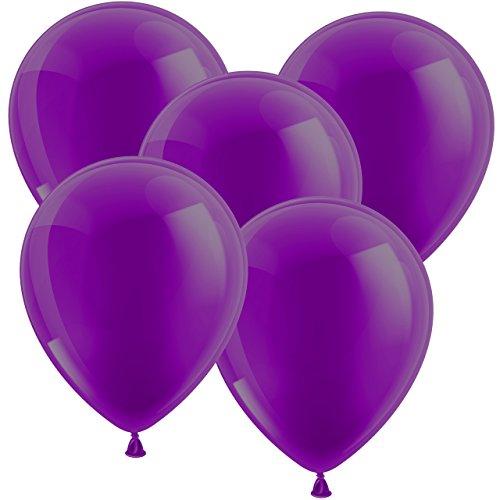 100x Luftballons Ballons Glänzend - Freie Farbauswahl Bunt Gelb Orange Gold Silber Weiss Blau Rot Burgund Grün Limonengrün Lila Pink - Europäische Qualität - Glänzende Farben sind der Hingucker auf Ihrer Feier! (Lila)