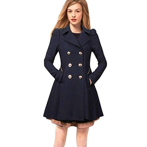 Kanpola Damen Mäntel Tasteful Lange Parka Revers Neck Outwear Fashion Winter Warm Trench Jacke (XS/34, Marine)