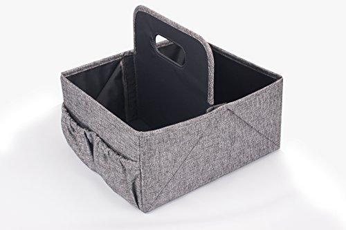 Mejor plegable pañales y toallitas Caddy–guardería plegable caddy-portable para cambio de pañales organizador portátil pañales caddy-huge espacio para botellas, juguetes y toallitas. Perfecto Baby Shower regalo (gris)