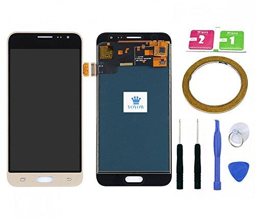 YOYOW LCD Display Touchscreen Digitizer Assembly für Galaxy J3 2016 J320 J320F SM-J320F + Aufkleber + Werkzeugset + Reinigungsset (Gold)