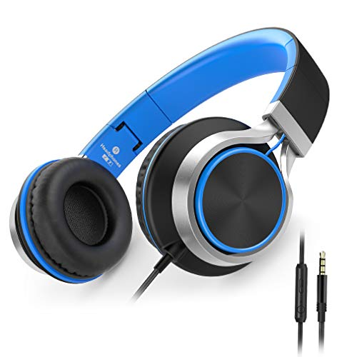 Ailihen C8 Kopfhörer leicht faltbar mit Mikrofon Lautstärkeregelung Musik Headsets 3,5mm für Smartphones PC Laptop Mac MP3 Tablet (Schwarz Blau)
