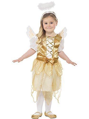 Mädchen Gold Angel Gabriel Weihnachten Fee Geburt Kostüm Kleid Outfit mit Flügeln und Halo 4-12 jahre - Gold/weiß, 4-6 (Für Kinder Kostüme Halo 4)