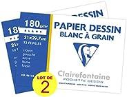 Clairefontaine 196155AMZC - Un lot 2 pochettes Dessin dessin à grain blanc 12 feuilles 21x29,7 cm 180g