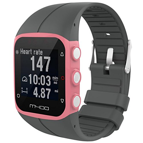 IGEMY 23MM Große Silikon Gummi Uhrenarmband Ersatz Handgelenk Bügel für Polar M400 M430 Fitness Uhr (Grau) (Michael Kors Swarovski Uhr)