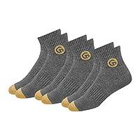 GLINTO Men's Premium Cushioned Cotton Athletic Quarter Socks, (3 Pack,Free Size, Grey)