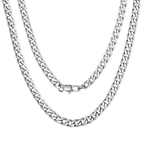 "ChainsPro Klassische Herren Halskette 316L Edelstahl Silber Sterlingsilber O Kette Panzerkette ohne Anhänger Herrenschmuck 14\""/18\""/20\""/22\""/24\""/26\""/28\""/30\"" Lang (4mm Breit, 3 Farbe wählbar)"