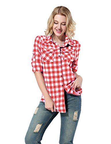AitosuLa Bluse Karierte Damen Hemd Oberteile V-Ausschnitt Lose Casual Langarm T-Shirt Top Tunika Elegant Langarmshirt (Z-Rot-Weiss, X-Large)