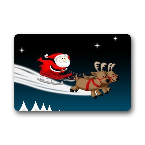 Liuzhis DailyLifeDepot Machine Clean Top Fabric & Non-Slip Backing Durable Indoor Doormat Door Mats - Cartoon Cute Santa Claus with Sleigh and Elks Dark Blue Night Design 15.7W*23.6L inch (Dark Black Side Cherry)