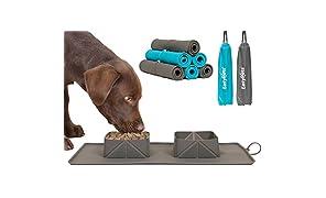 EasyPets Double Roll 'N' Go - Juego de cuencos para perros y gatos Cuencos plegables enrollables para casa o viaje