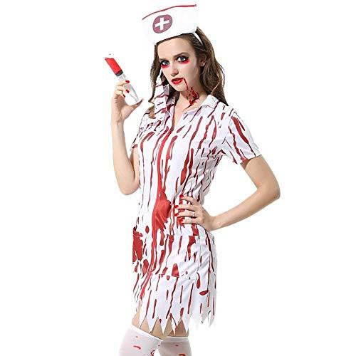 Erwachsenen Nacht Für Kostüm Krankenschwester - lili Krankenschwester Kostüm,Zombie Für Erwachsene Bloody Sexy Horror Dress Up Partykleid Gesichtsmaske Und Kopfbedeckung