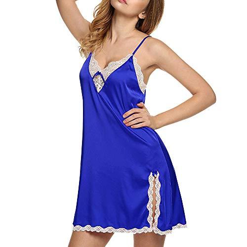 Preisvergleich Produktbild TianWlio Dessous Mode Damen Schlafanzug Unterwäsche Unterhosen Negligees Weihnachten Dessous Nachtwäsche Satin Spitze Chemise Puppe Nachtwäsche Blau M