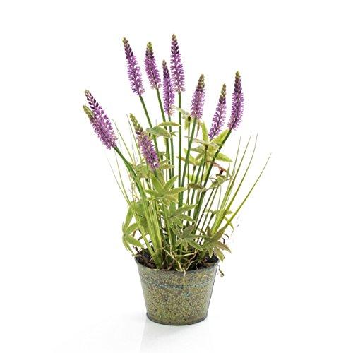 artplants Set 2 x künstliches Lavendel Gras Luna im Metalltopf mit Blättern, lila, 45 cm – Deko Grasbüschel/Kunstblumen