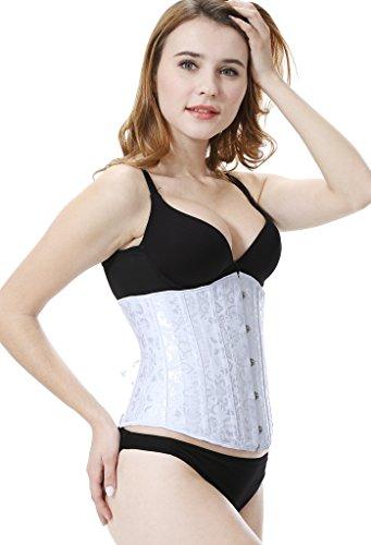 Everbellus Damen 24 Stahlstäbe Korsett Abnehmen Corsage Gürtel Unterbrust Cincher Ohne Stäbe Taillenmieder Weiß