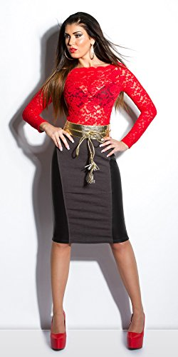 Sexy KouCla high-waist-Rock con effetto pelle KouCla by in-Fashion Style SKU 0000ISF - SK536 Grigio scuro