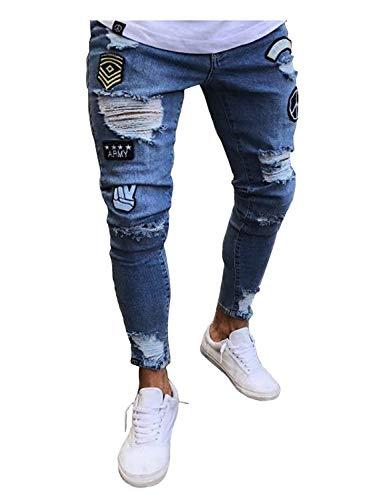 Jeans skinny jeans uomo pantaloni slim strappati da fit con taglio mode di marca a strappo pantaloni in denim pantaloni casual (color : hellblau, size : m)
