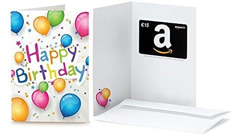 Amazon.de Grußkarte mit Geschenkgutschein - 15 EUR (Happy Birthday Ballons)