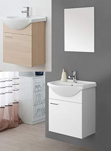 Arredo Bagno sospeso Bianco Laccato o Rovere specchiera 56 lavabo Ceramica mobili Modello Icaro I