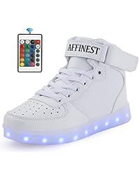 Sunching Muchachos Muchachos primero caminan los zapatos que destellan la zapatilla de deporte ligera del LED blanco tamaño 21 5jJKzO0me